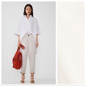 NWT. Zara Cream Paperbag Pants. Size L.